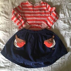 Adorable Mini Boden outfit bird skirt